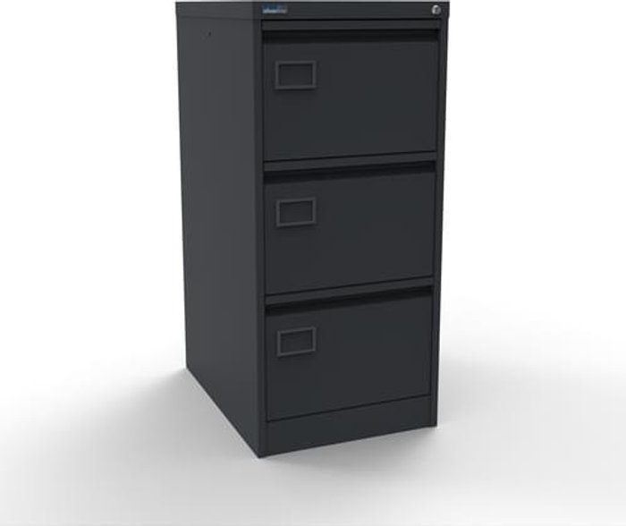 Executive Silverline Executive 3 Drawer Individually Locking Foolscap Filing Cabinet - Graphite Grey