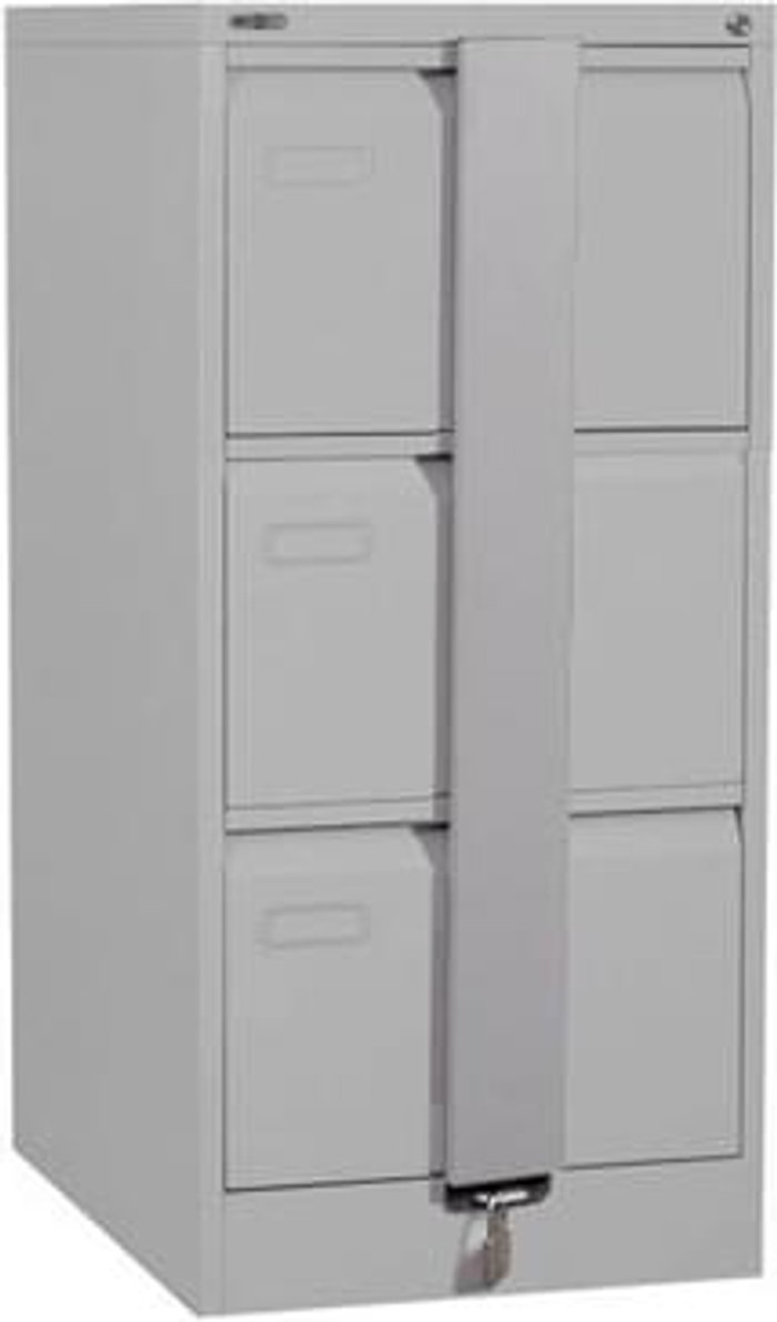 Executive Silverline Executive 3 Drawer Foolscap Filing Cabinet with Security Bar - Light Grey