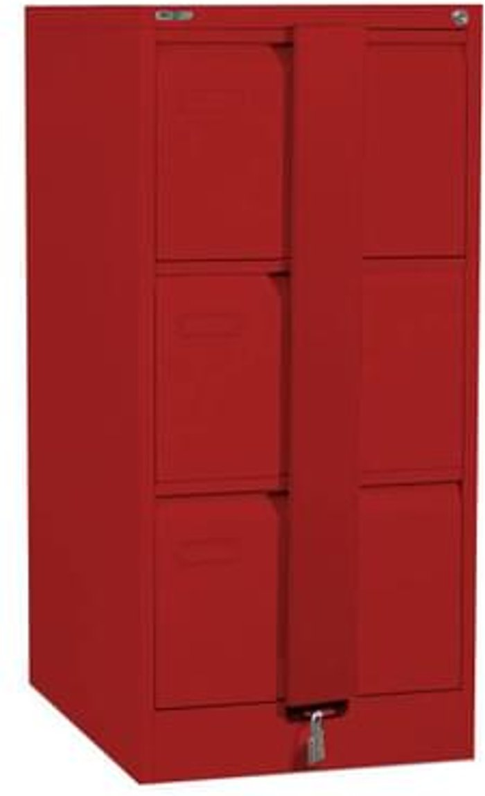 Executive Silverline Executive 3 Drawer Foolscap Filing Cabinet with Security Bar - Red