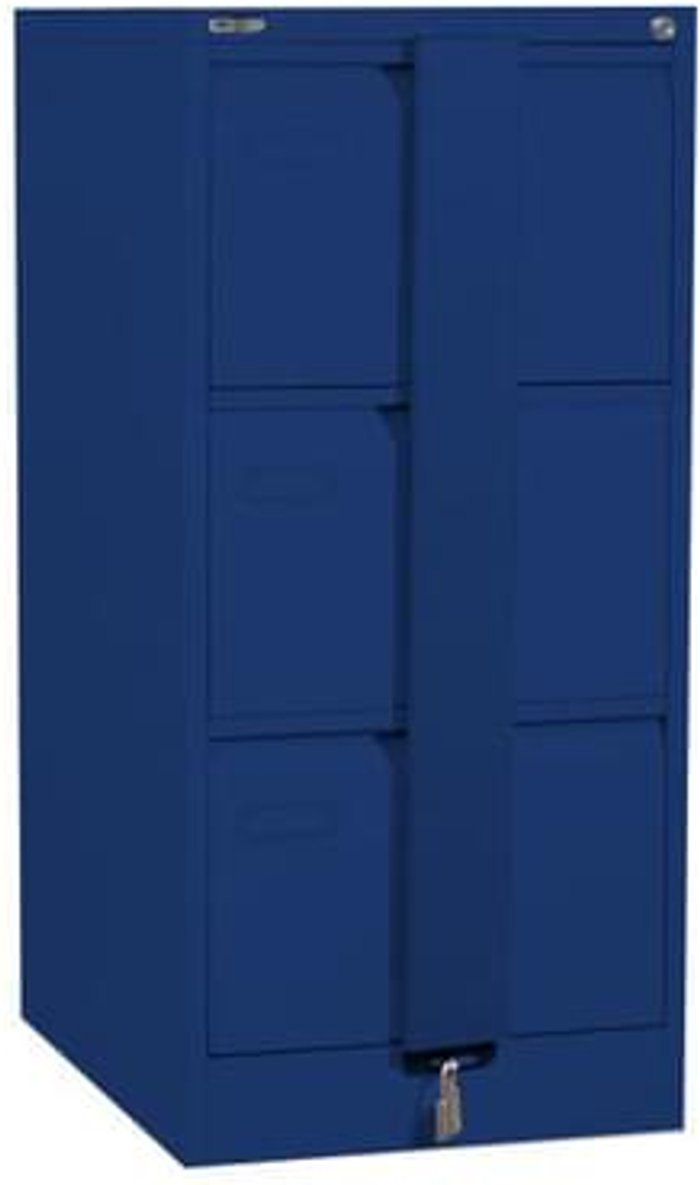 Executive Silverline Executive 3 Drawer Foolscap Filing Cabinet with Security Bar - Blue