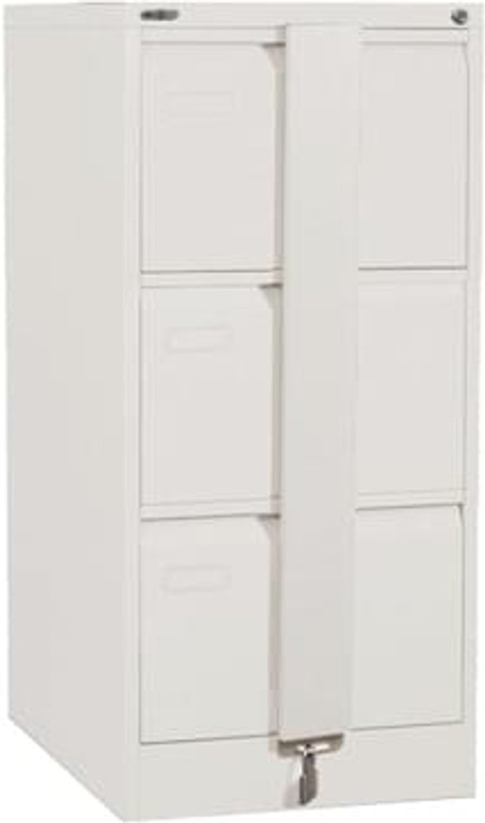 Executive Silverline Executive 3 Drawer Foolscap Filing Cabinet with Security Bar - White