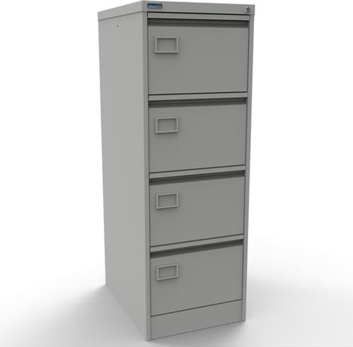 Executive Silverline Executive 4 Drawer Individually Locking Foolscap Filing Cabinet - Light Grey