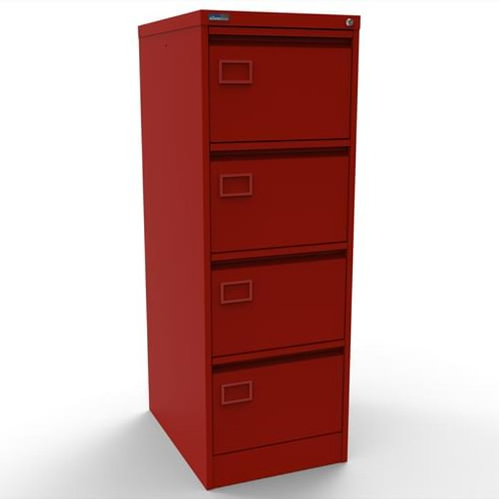Executive Silverline Executive 4 Drawer Individually Locking Foolscap Filing Cabinet - Red