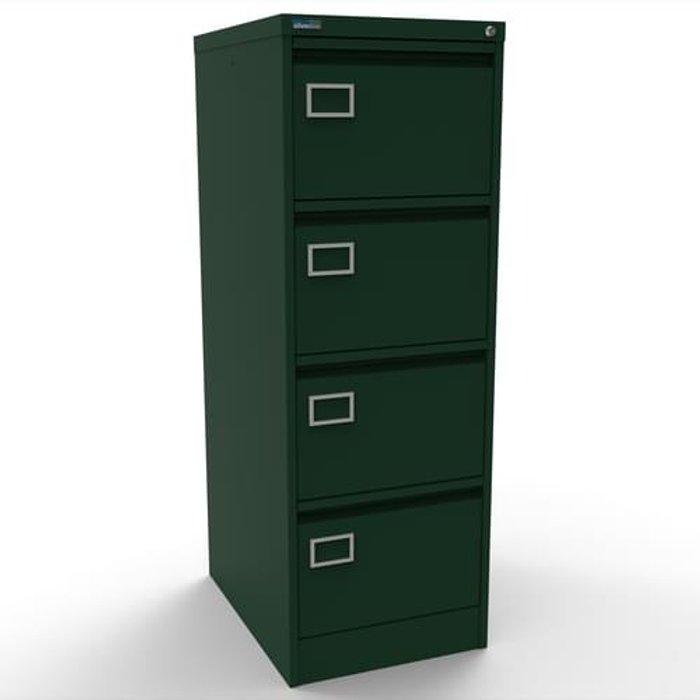 Executive Silverline Executive 4 Drawer Individually Locking Foolscap Filing Cabinet - British Racing Green