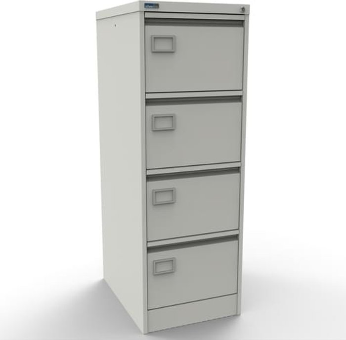 Executive Silverline Executive 4 Drawer Individually Locking Foolscap Filing Cabinet - White