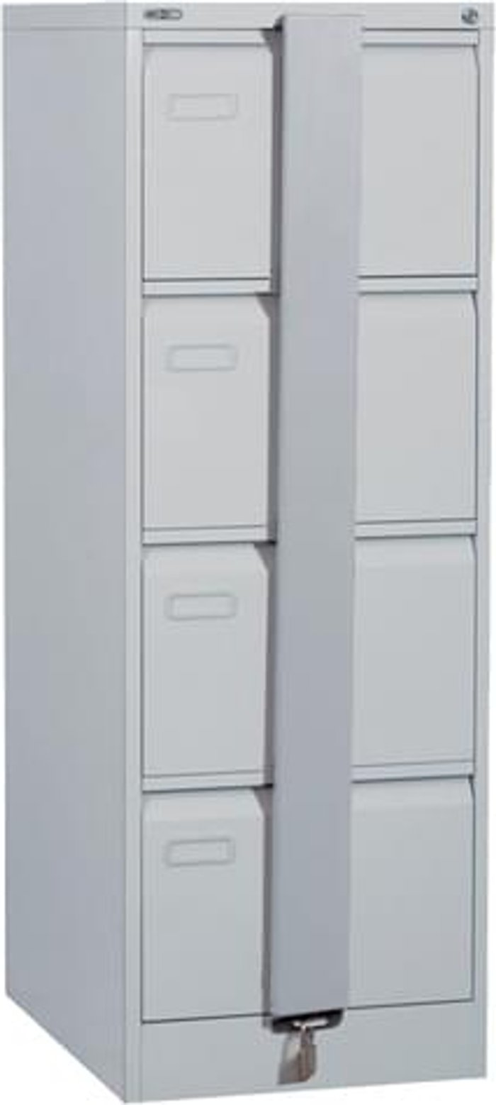 Executive Silverline Executive 4 Drawer Foolscap Filing Cabinet with Security Bar - Light Grey