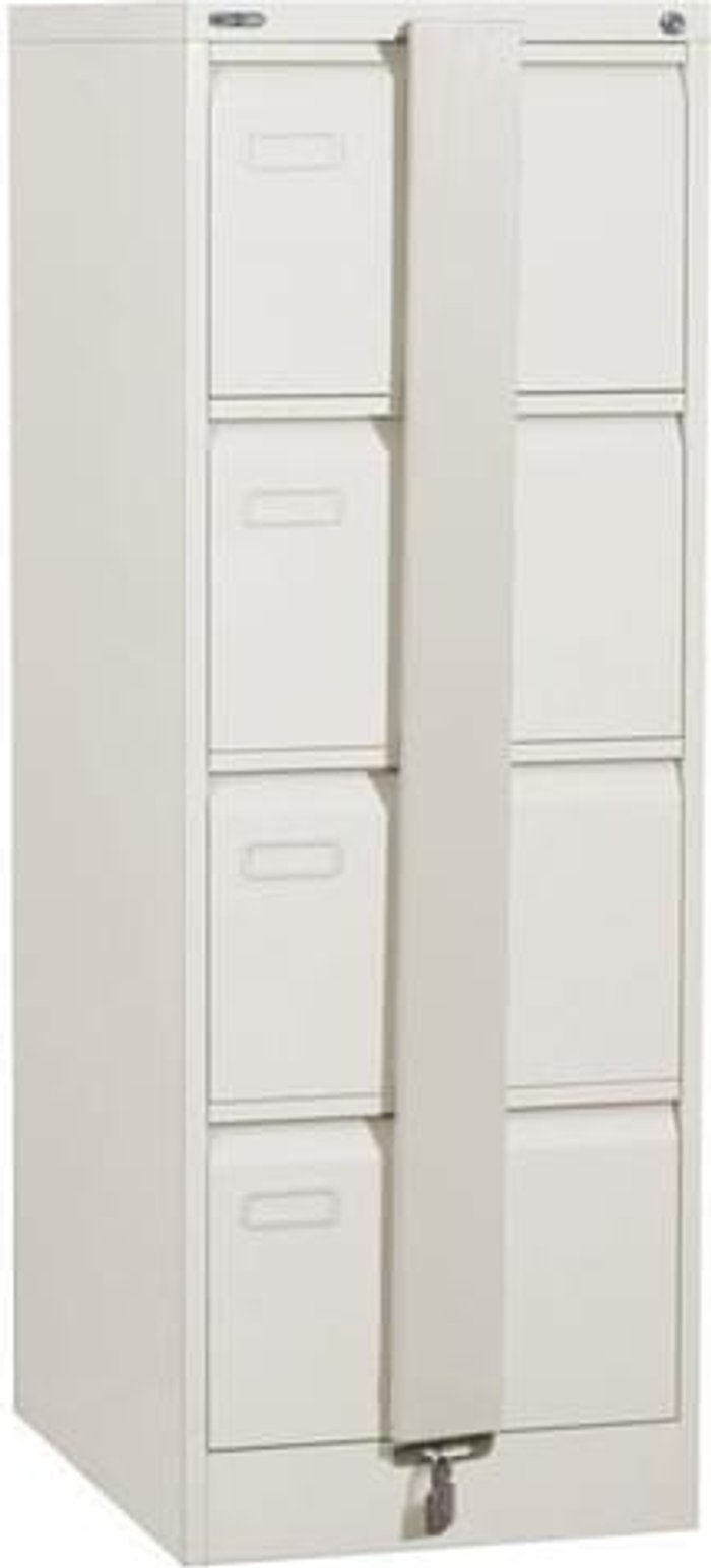Executive Silverline Executive 4 Drawer Foolscap Filing Cabinet with Security Bar - White