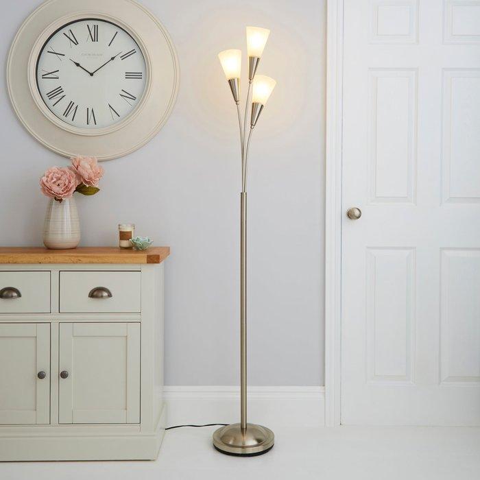 Dunelm Marble Glass Satin Nickel Floor Lamp Silver