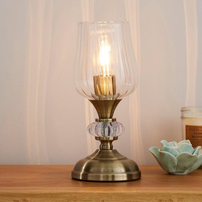 Dunelm Hurricane Antique Brass Table Lamp Bronze