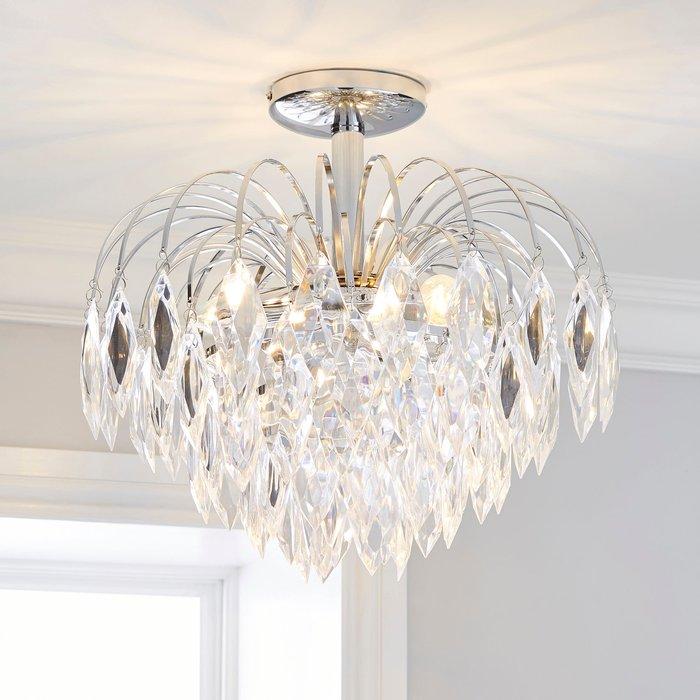 Dunelm Parla 3 Light Chrome Semi-Flush Ceiling Fitting Silver