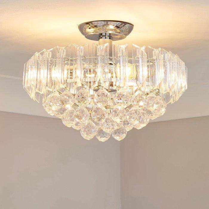 Dunelm Venetian 2 Light Jewel Chrome Ceiling Fitting Silver
