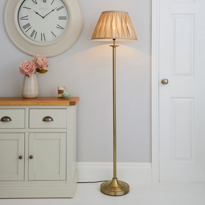 Dunelm Reeded Antique Brass Floor Lamp Gold
