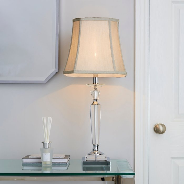Dunelm Windsor Clear Table Lamp Silver