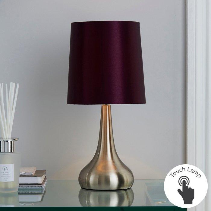 Dunelm Rimini Blackcurrent Touch Dimmable Lamp Dark Purple