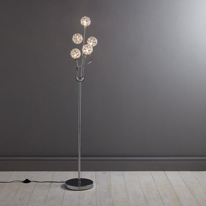 Dunelm Sphere 5 Light Glass Floor Lamp Silver