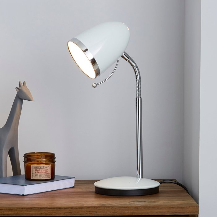 Dunelm Tate White and Chrome Desk Lamp White