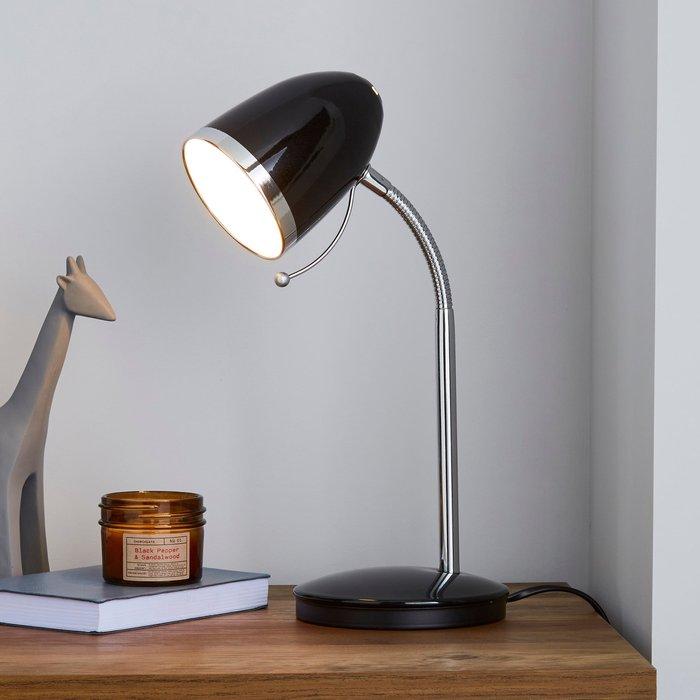 Dunelm Tate Black and Chrome Desk Lamp Black