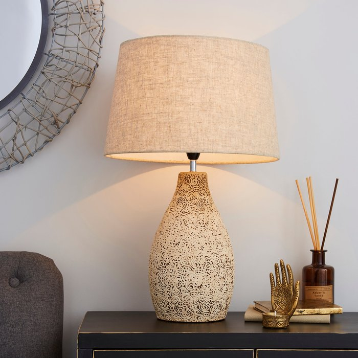 Dunelm Mahon Tall Stamped Barrel Table Lamp Light Brown / Natural