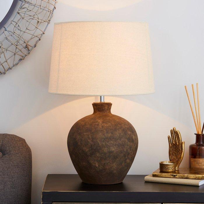 Dunelm Santiago Large Washed Urn Table Lamp Light Brown / Natural