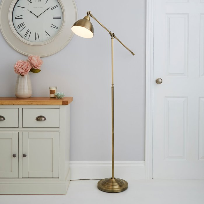 Dunelm Lever Arm Antique Brass Floor Lamp Bronze