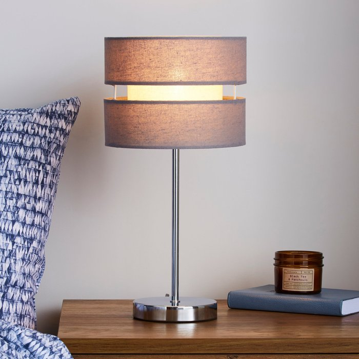 Dunelm Frea Grey Table Lamp Grey