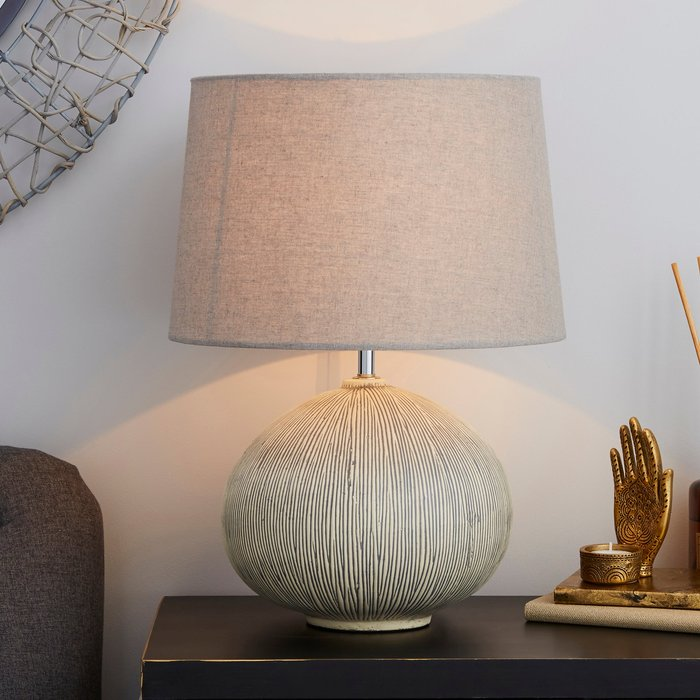 Dunelm Dahlia Scratched Resin Grey Table Lamp Grey