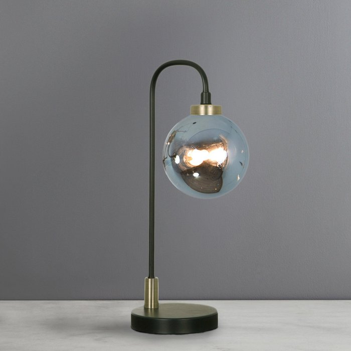 Dunelm Tanner Black and Smoked Glass Table Lamp Black