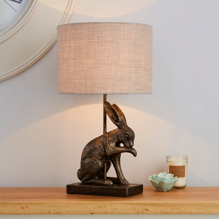 Dunelm Hare Licking Paw Antique Brass Table Lamp Antique Brass