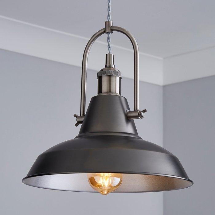 Dunelm Lucas Industrial 1 Light Pendant Pewter Ceiling Fitting Grey