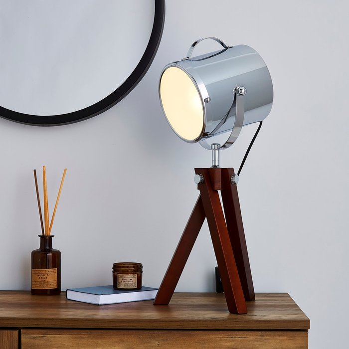 Dunelm Carlton Camera Tripod Dark Wood Table Lamp Wood (Brown)