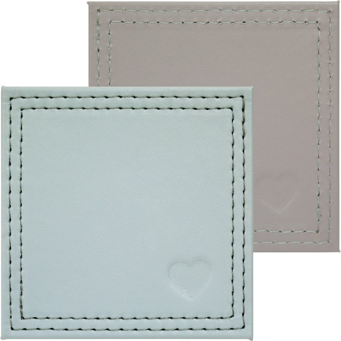 Dunelm Country Heart Pack of 4 Faux Leather Coasters Grey