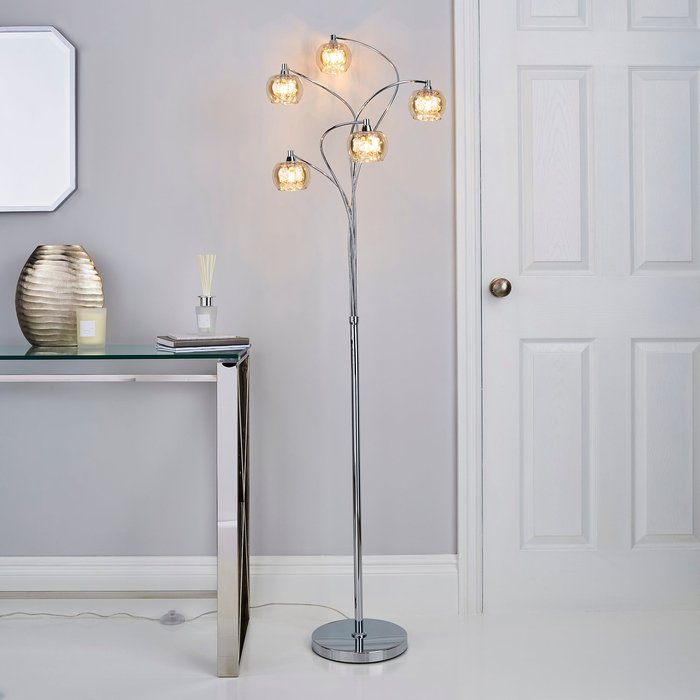 Dunelm Seychelles 5 Light Smoked Glass Floor Lamp Chrome