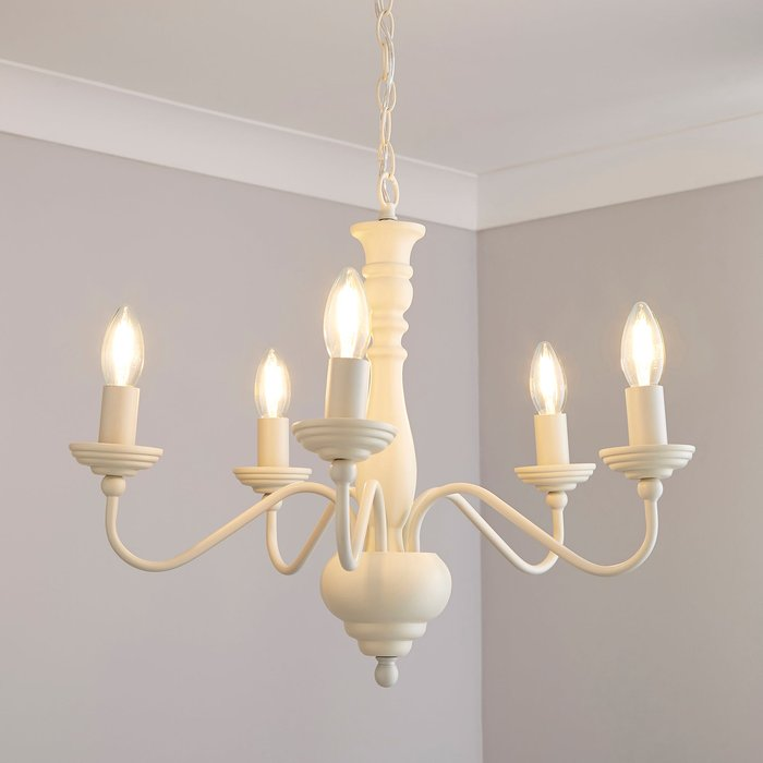 Dunelm Alosno 5 Light Candelabra White Ceiling Fitting White