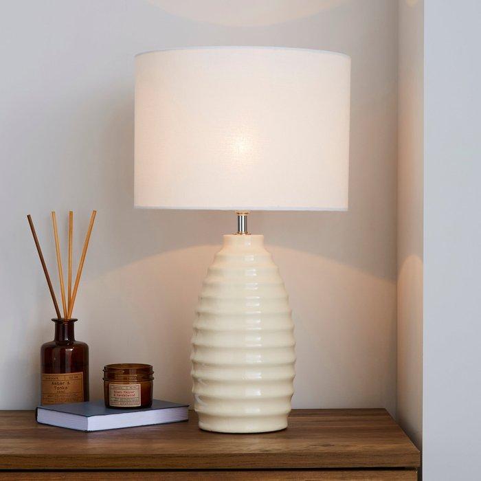 Dunelm Norden Ribbed Ceramic Ivory Table Lamp White