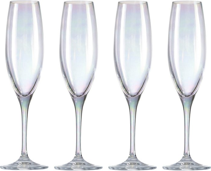 Dunelm Pack of 4 Lustre Champagne Flutes Clear