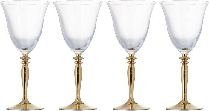 Dunelm Pack of 4 Gold Stem Red Wine Glasses Gold