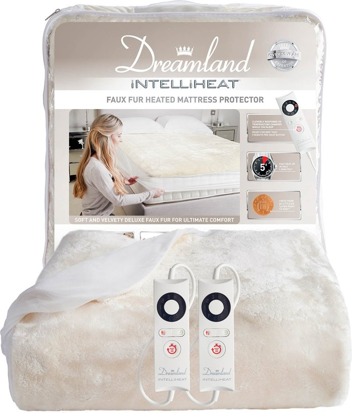 Dreamland Dreamland Intelliheat Faux Fur Heated Mattress Protector Off-White