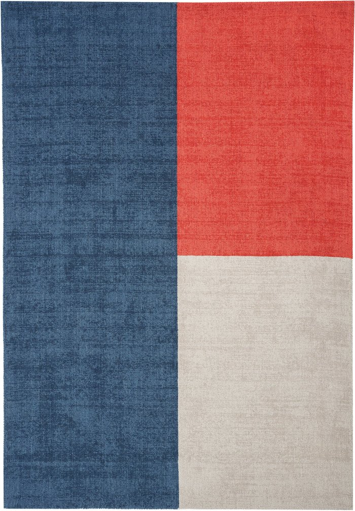 Dunelm Blox Rug Blue, White and Red
