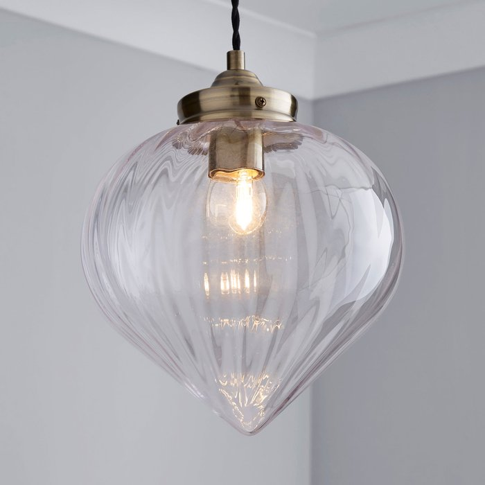 Dunelm Rio Voyager 1 Light Pendant Ribbed Glass Ceiling Fitting Antique Brass