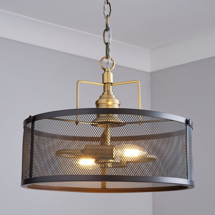 Dunelm Kalix 2 Light Mesh Black Gold Ceiling Fitting Black