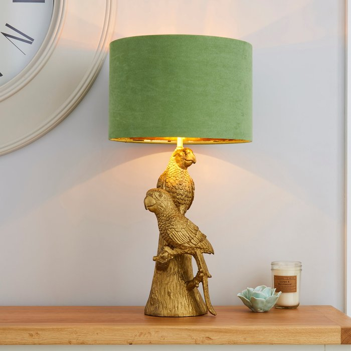 Dunelm Polly Parrots Gold Table Lamp Gold