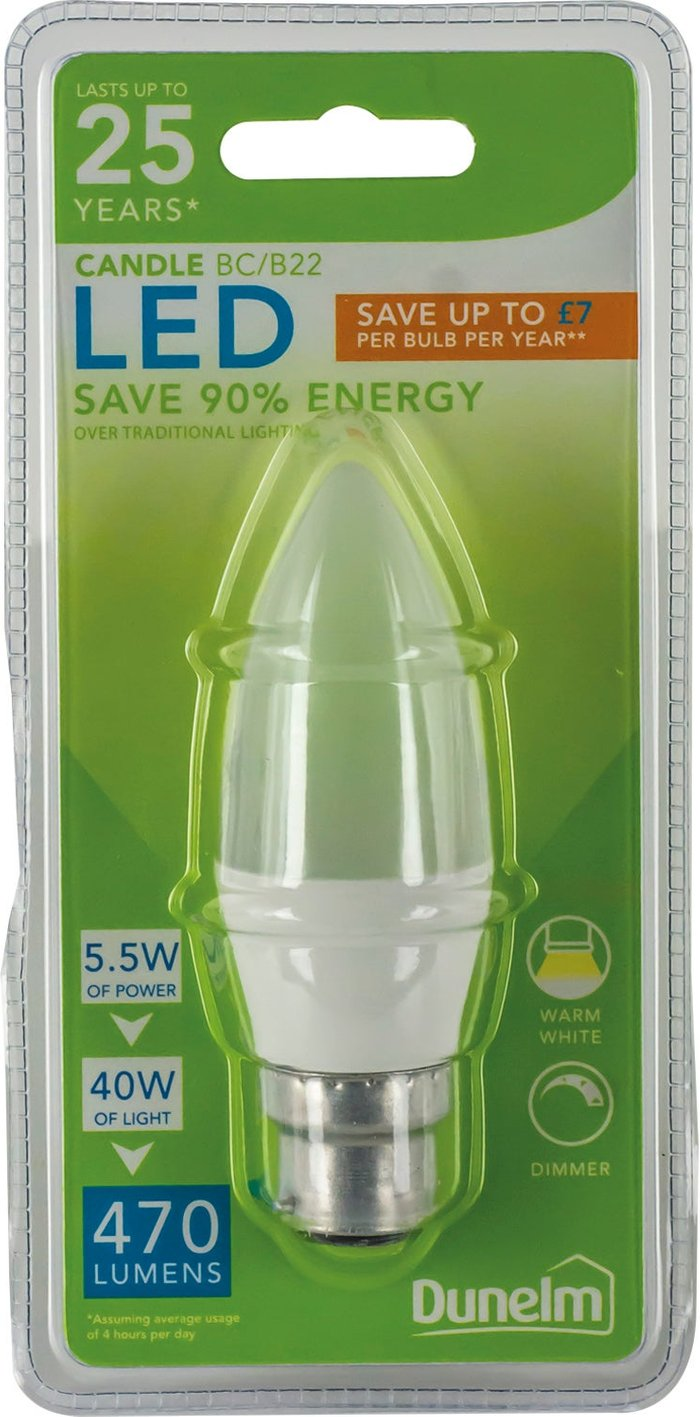 Dunelm Dunelm 5.5 Watt BC Pearl LED Candle Bulb Clear