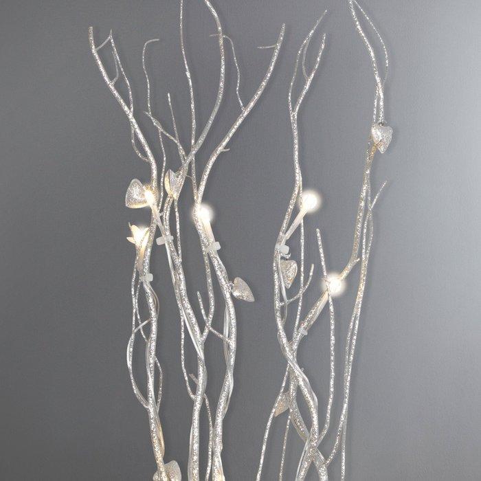 Dunelm Silver Hearts Glitter Twig Lights Silver