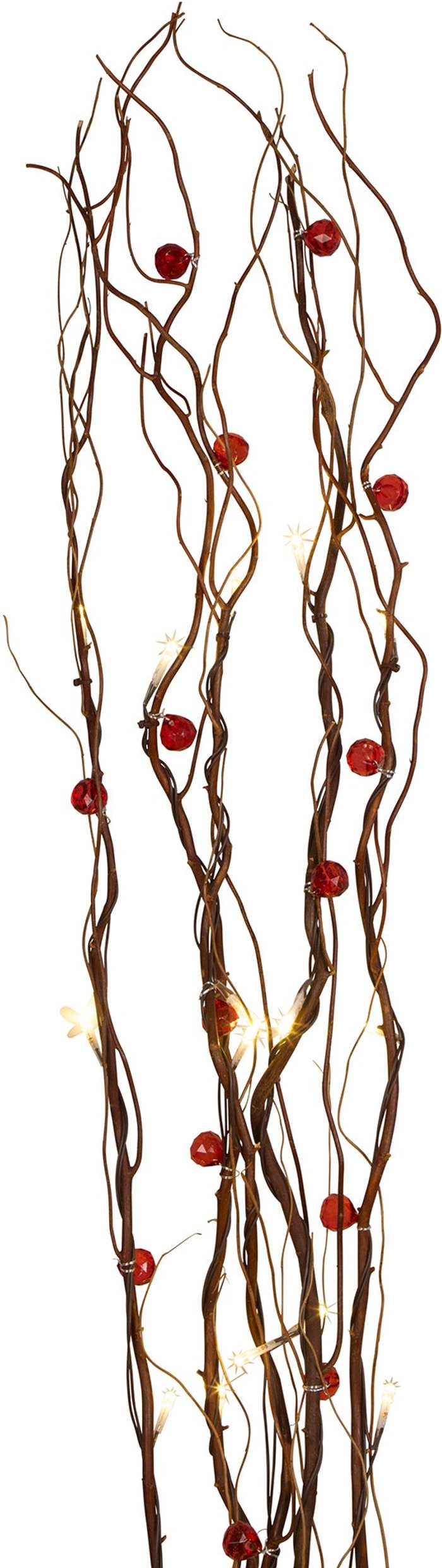 Dunelm Red Beads Brown Twig Lights Brown