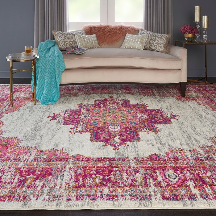 Nourison Ivory and Fuchsia Passion Rug Pink