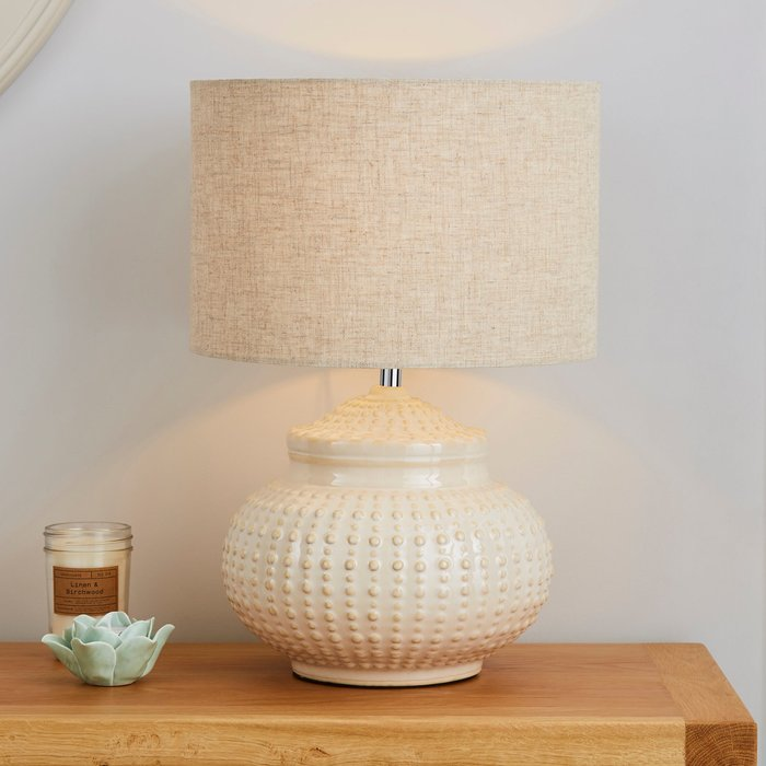 Dunelm Zeeburg Urchin Ceramic Cream Table Lamp Cream