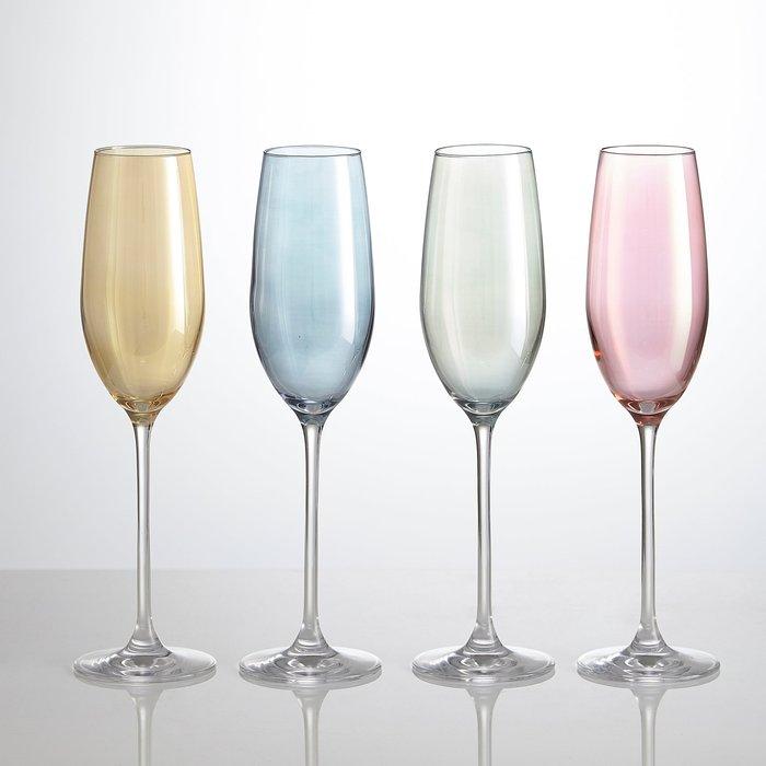 Dunelm Pack Of Four Lustre Assorted 235ml Flute Glasses NA