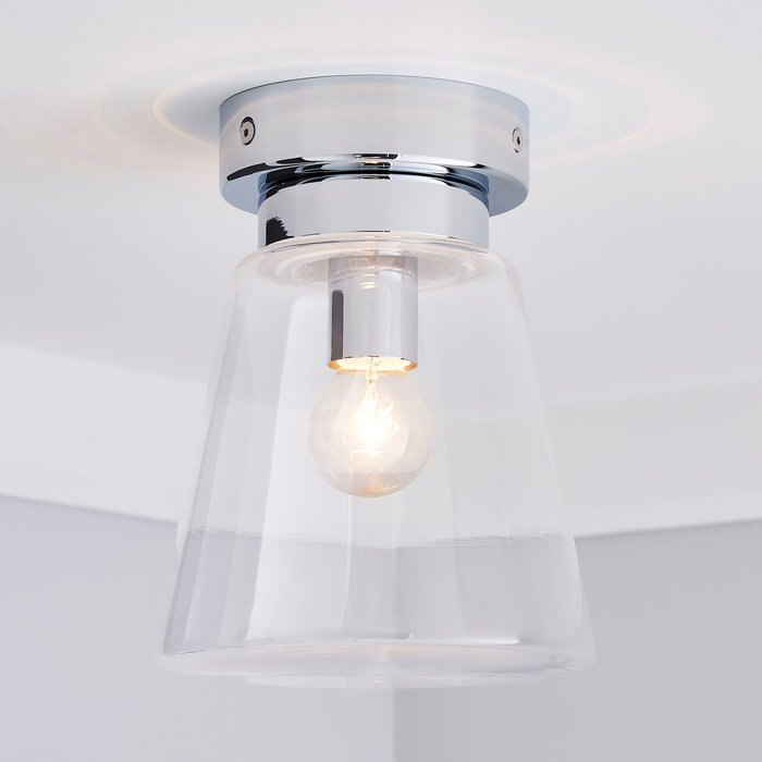 Dunelm Delavin 1 Light Pendant Glass Flush Bathroom Ceiling Fitting Silver