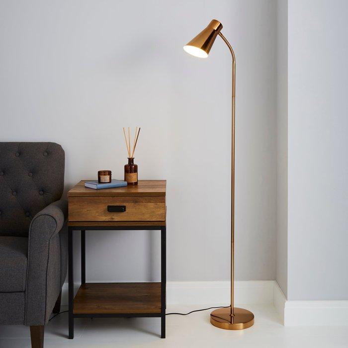 Dunelm Kurtis Gold Floor Lamp Gold