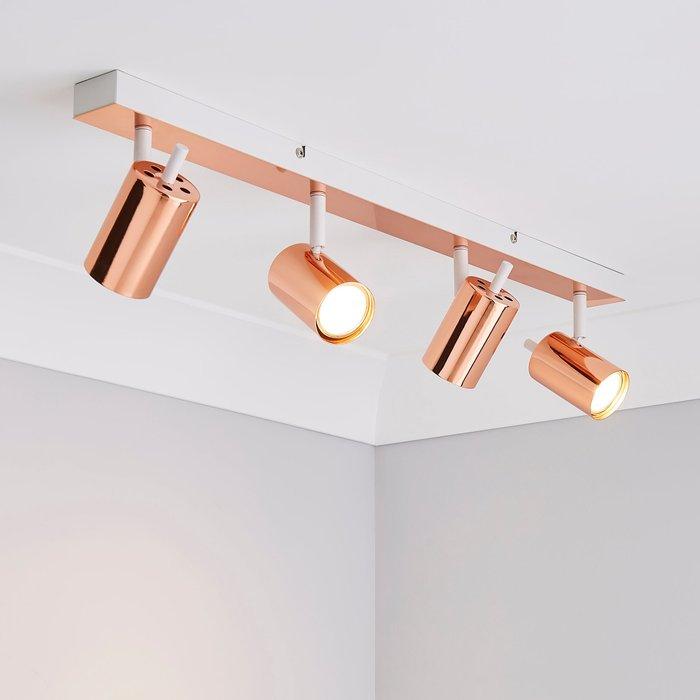 Dunelm Carter 4 Light Copper Spotlight Copper